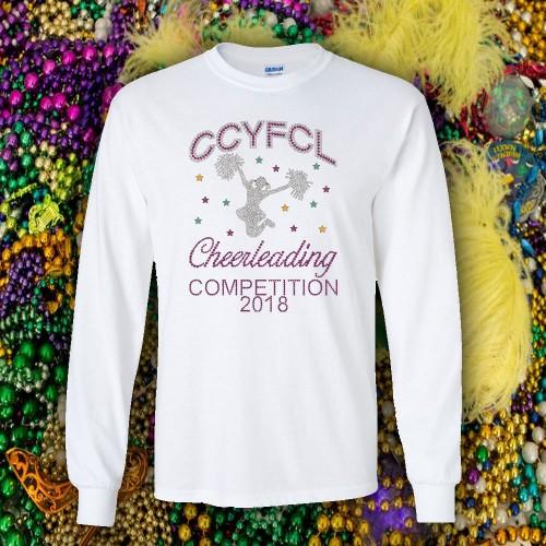 CCYFCL 2018 White Mardi Gras Cheer & Pom Rhinestone long sleeve t-shirt