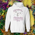 CCYFCL 2018 Mardi Gras  White Rhinestone Competition Hooded Sweatshirt