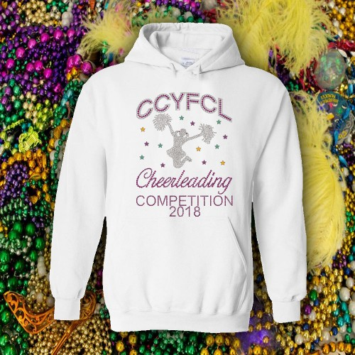CCYFCL 2018 Mardi Gras  White Rhinestone Competition Hooded Sweatshirt