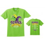 CCYFCL 2018 Lime Cheer & Pom Competition t-shirt with Team names on back