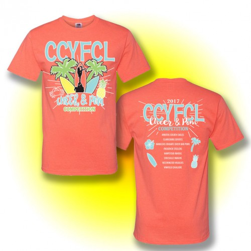 CCYFCL 2017 Cheer & Pom coral t-Shirt  with team names on back