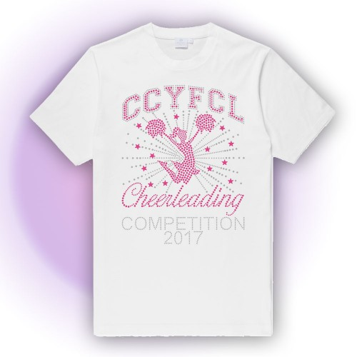 CCYFCL 2018 HOT PINK  White Cheer & Pom Rhinestone Competition t-shirt ( Year will be 2018)