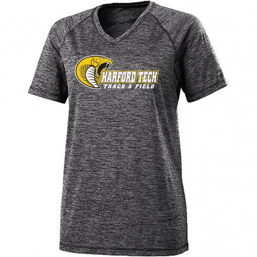Harford Tech Track & Field ladies 100% polyester gray/white space print performance tee