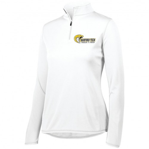 Harford Tech Track & Field Ladies White quarter zip pullover