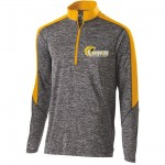 Harford Tech Track & Field Mens 100% polyester carbon gray/Gold 1/4 zip training pullover