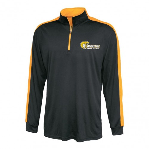 Harford Tech Track & Field 100% polyester black/gold Pennant  1/4 zip training pullover