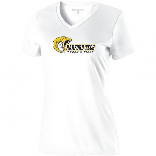 Harford Tech Track & Field 100% polyester White performance v-neck