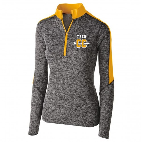 Harford Tech Cross Country Ladies 100% polyester carbon gray/gold  1/4 zip training pullover