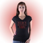Mercy MOM Custom Rhinestone Black V-Neck tee