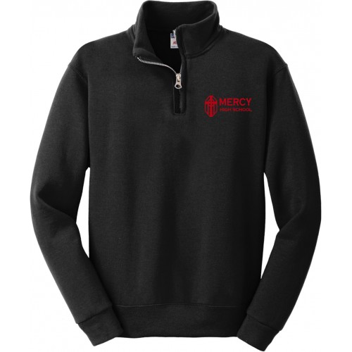 Mercy Unisex Black Quarter Zip Pullover Mercy High School embroidery