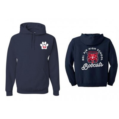 Bel Air cheerleading Bobcat Hooded sweatshirt (front & back)