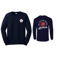 Bel Air Cheerleading Bobcat long sleeve tee (front & back)