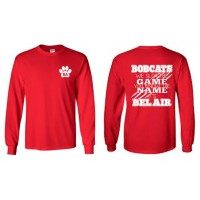 """Bel Air Cheerleading """"You know the name"""" long sleeve red tee"""