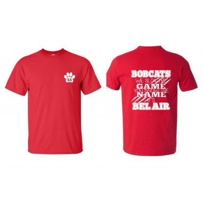 """Bel Air Cheerleading """"You know the name"""" red t-shirt"""