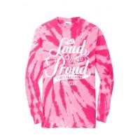 Cougar's Loud and Proud  Long Sleeve tie Dye pink tee
