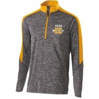 Harford Tech Mens quarter Zip pullover gray and gold