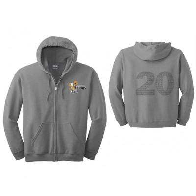Harford Tech Class of 2020 full zip hooded gray sweatshirt