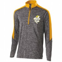 Harford Tech Graphics Mens quarter Zip pullover gray and gold