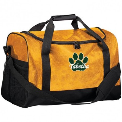 Westminster Wildcats gold glitter duffel bag