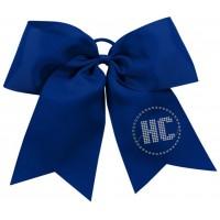 Harford Cheer navy bow with rhinestone logo