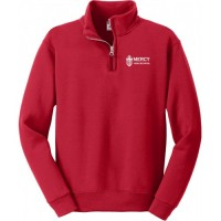 Mercy quarter zip crew sweatshirt red with embroidered logo