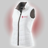 Mercy Ladies Holloway white vest with embroidered logo