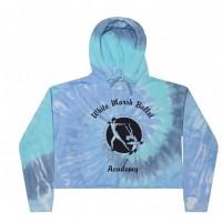 White Marsh Ballet Crop Hooded Sweatshirt- lagoon blue tie dye