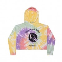 White Marsh Ballet Crop Hooded Sweatshirt - rainbow tie dye